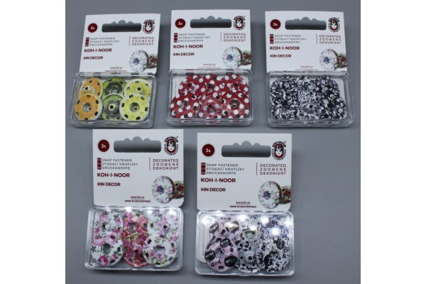 Metal Snap Fasteners - Patterned Coloured - Size 8