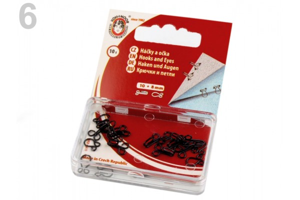 Metal Hook and Eye Fasteners - Size 6 - 10 mm