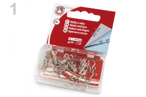 Metal Hook and Eye Fasteners - Size 1 - 15 mm