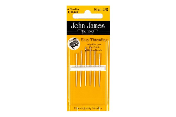 John James Needles - Easy Threading Sewing Needles - Size 4/8