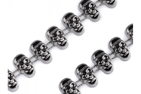 Skull Beads -- Chain Trim, Plated  - 12mm