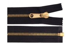 "Metal Brass Zip - Extra Long - 150 cm (1.5m / 59"") : (Black)"