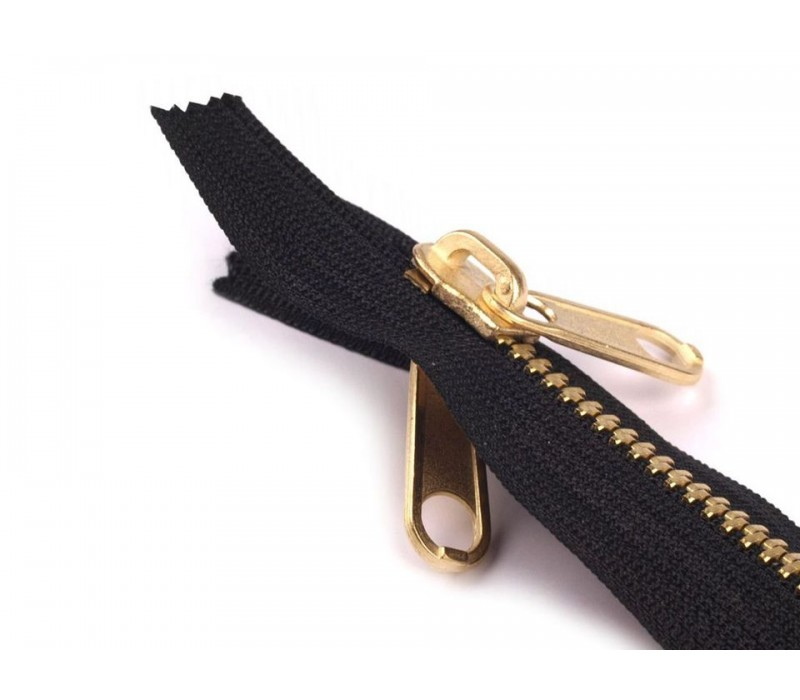 "Metal Brass Zip - Extra Long - 150 cm (1.5m / 59"") : (Black)"