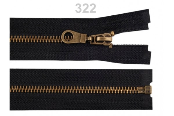 "Metal Brass Zip for Jackets - 60 cm (23.6"") : (Black or Brown)"