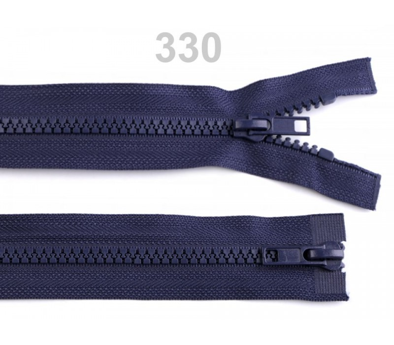 """Plastic Two-way Zip for Jackets - 65 cm (25.5"""") : (Black or Blue)"""