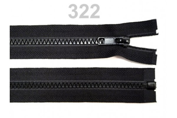 "Plastic Zip for Jackets - 65 cm (25.5"") : (Black)"