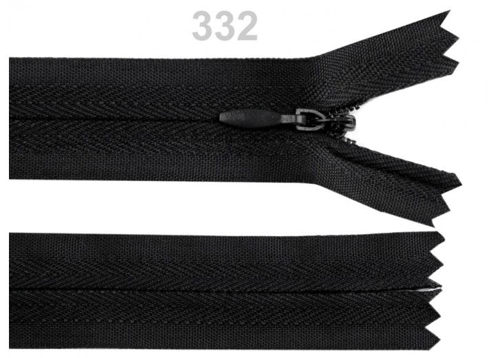 Invisible Nylon Zip - 25cm : (Black)