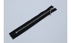 Metal Zip - Closed End, Nickel, Decorative Single Slider, Black, sizes 14cm, 16cm, 18cm, 20cm