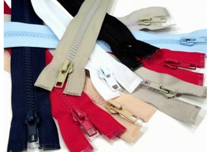 """Plastic Zip for Jackets - 60 cm (23.6"""") - Assorted Colours"""