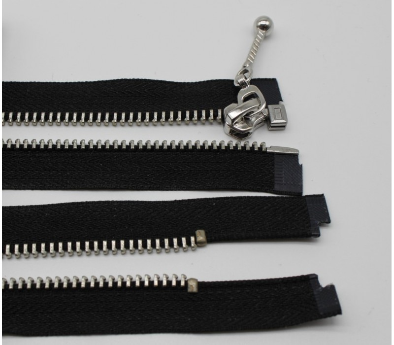 Metal Zip - Open End, Nickel, Decorative Single Slider, Black, sizes 30, 35, 40, 45, 50, 55, 60, 65cm