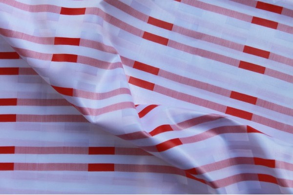Brocade Red Stripes on White Wall - Bazin Riche 7 Stars - 100% Cotton