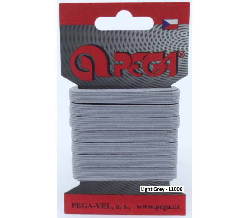 Flat Coloured Elastic - 6.6 mm - 5 m on Card