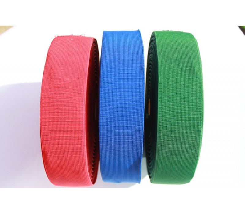 "Flat Woven Blue, Green or Red Elastics - 50mm (2"")"
