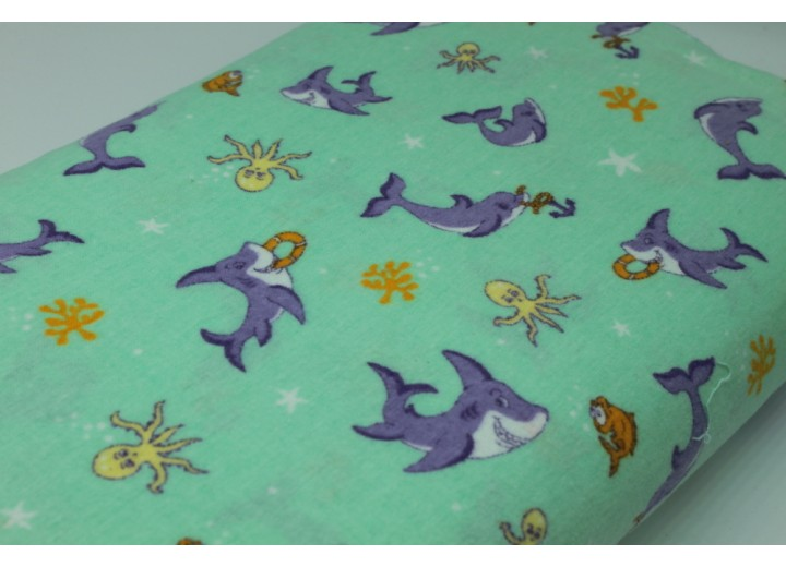 Mint Dolphins and Sharks Flannel - Single sided, brushed fabric