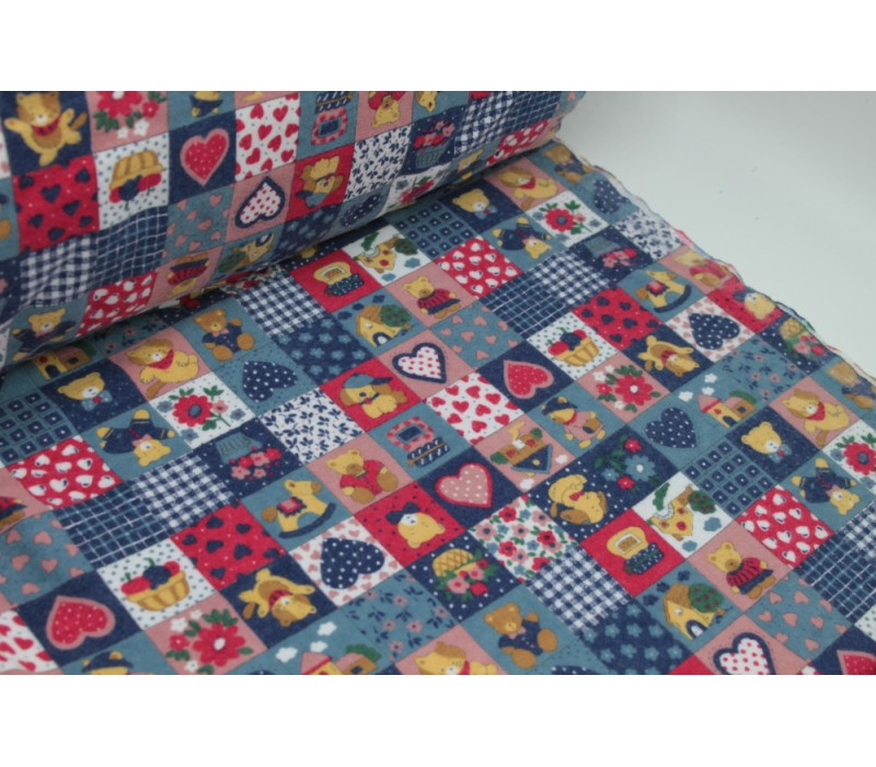 Blue Teddy Bear Flannel - Double sided, brushed fabric