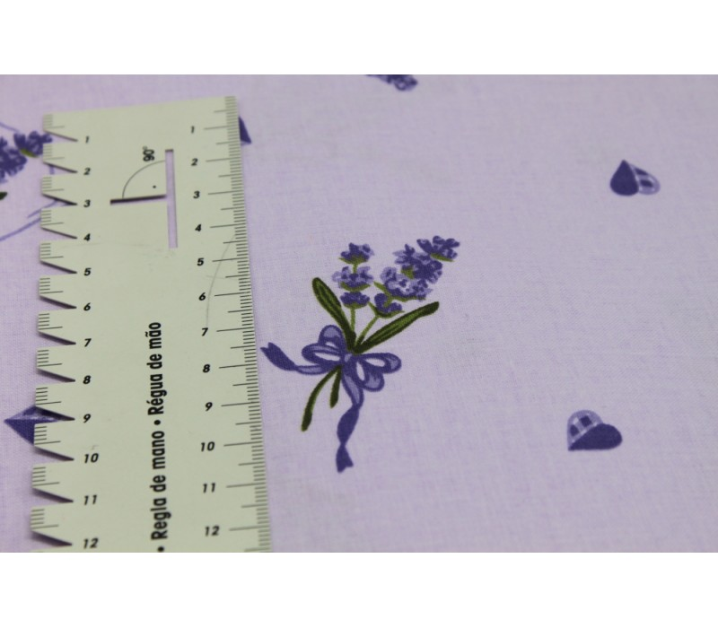 Cotton Fabric, Floral Sprig - Lilac