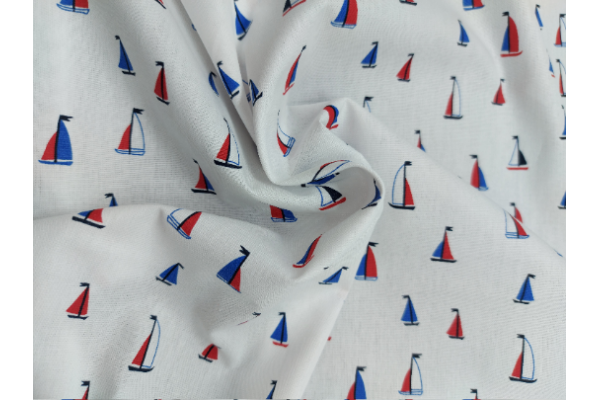 Boats on White - Cotton Poplin