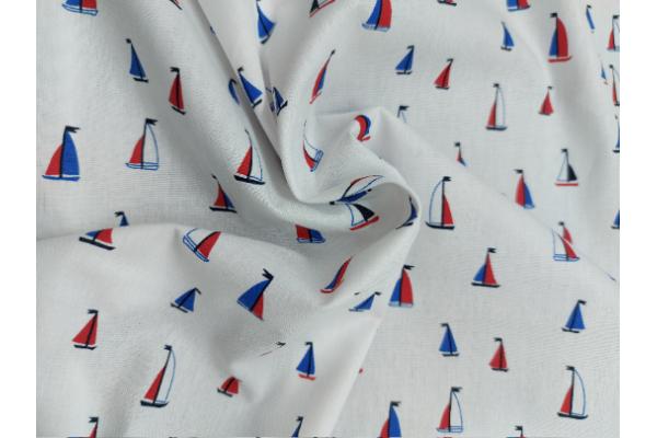 Boats on White - Cotton Poplin