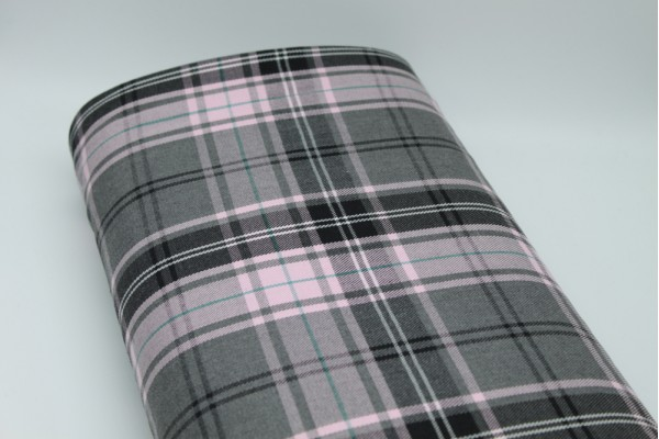Pink & Grey Fashion Tartan Fabric