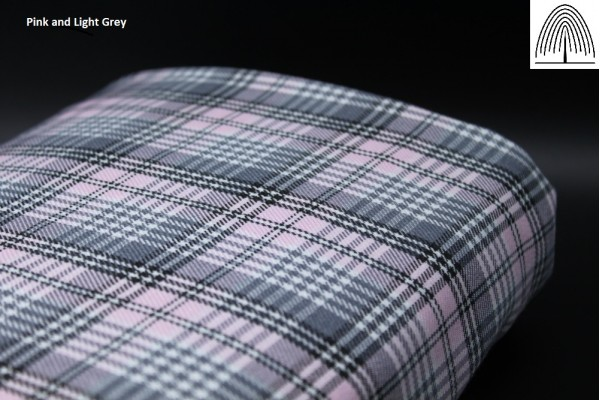 Light Grey and Pink Tartan Fabric