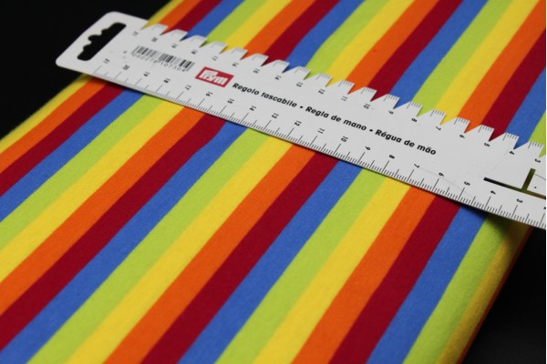 Rainbow Jersey Fabric - 1cm Stripe