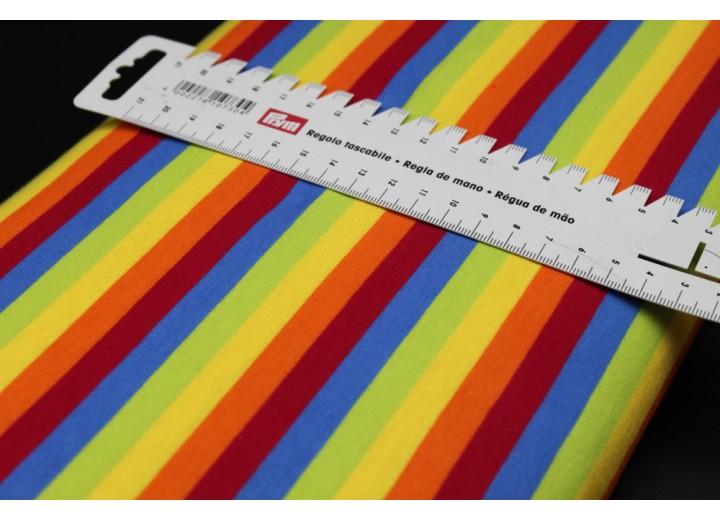 Rainbow Jersey Fabric - 1cm Stripe