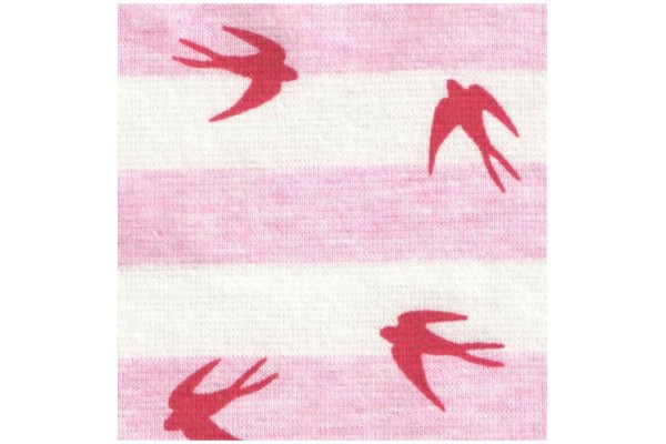 Jersey Stripes and Swallows - Pink