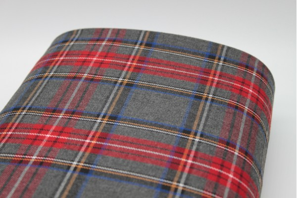 Grey and Red Tartan Fabric