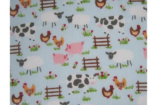 Polycotton Farmyard Fabric - 112cm wide - Colours