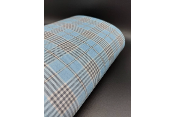 Light Blue and Grey Tartan Fabric
