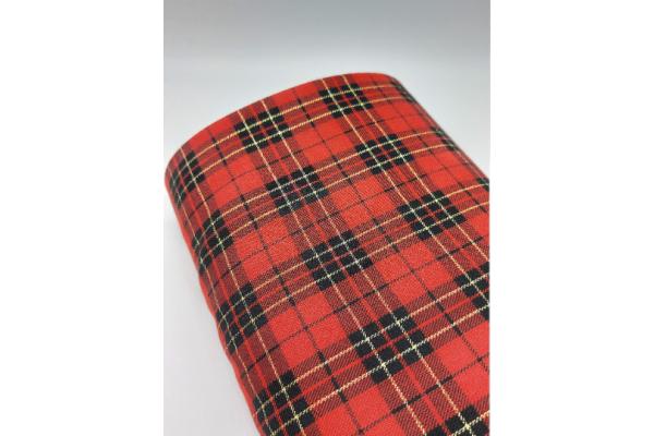 Total Red with Lurex Tartan Fabric