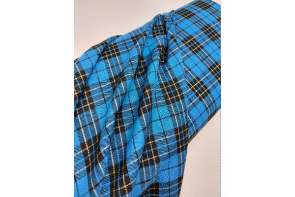 Total Turquoise with Lurex Tartan Fabric