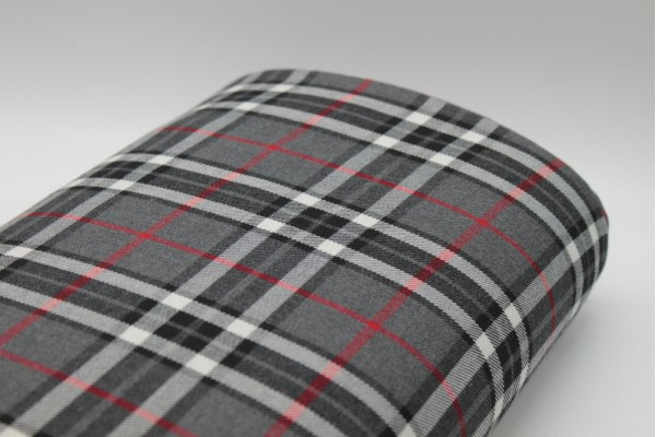 Red and Grey Tartan Fabric