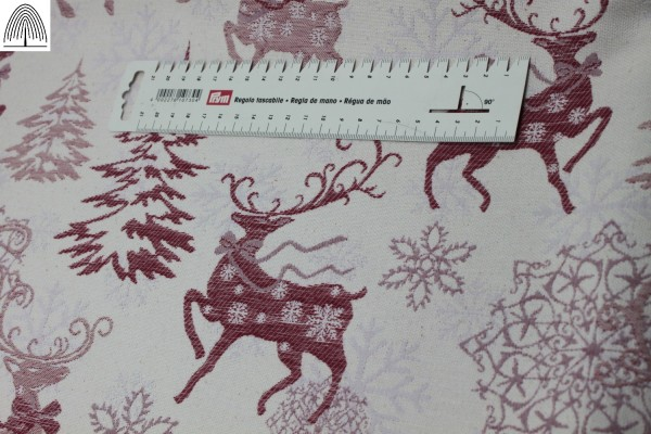 Red Reindeer Christmas Fabric - beautiful classic design (Reversible)
