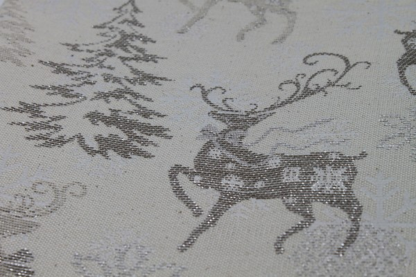 Silver Reindeer Christmas Fabric - beautiful classic design (Reversible)