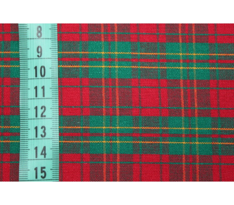 Green and Red Tartan Style Plaid - 100% Cotton