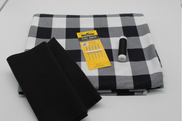 Black and White Check Jersey Pack -- (Fabric, Rib Knit, Needles, Thread)