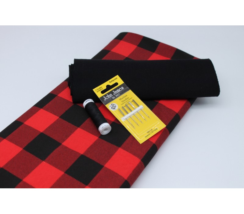 Red + Black Check Jersey Pack -- (Fabric, Rib Knit, Needles, Thread)