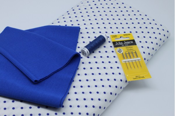 Blue Spot Jersey Pack -- (Fabric, Rib Knit, Needles, Thread)