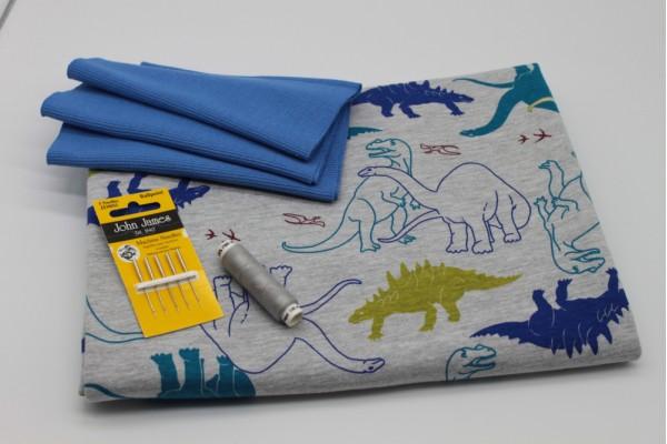Blue Dinosaur Jersey Pack -- (Fabric, Rib Knit, Needles, Thread)