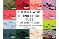Cotton Elastic Rib Knit Fabric Tube 16 cm x 80-96 cm