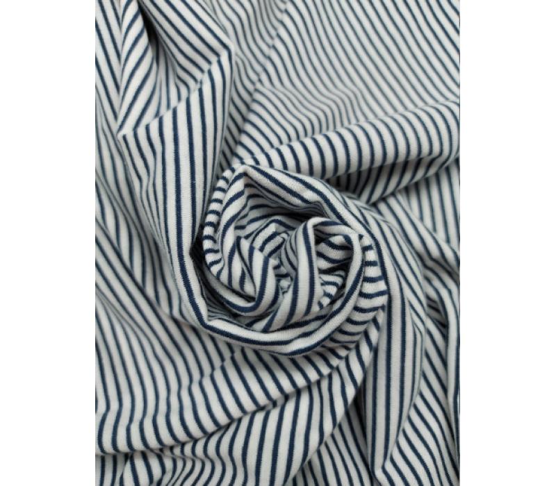Dark Blue & White, Thin Stripes - Cotton Jersey