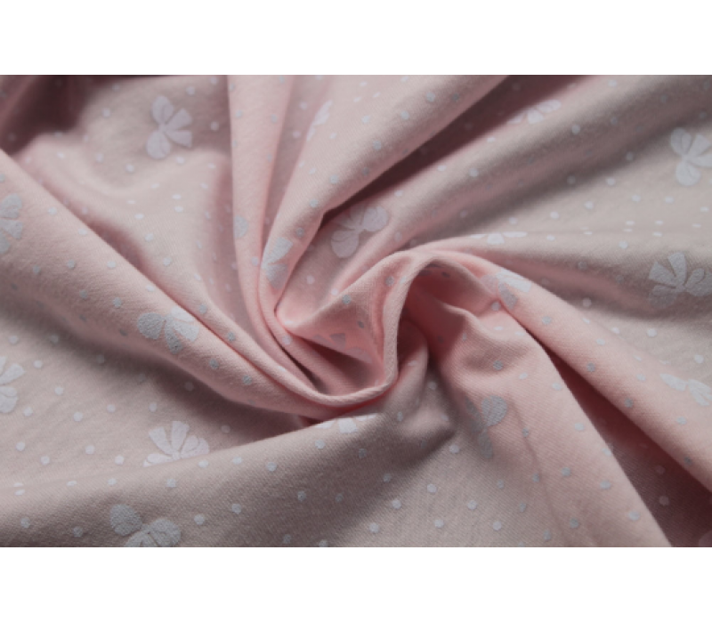 BIO Organic 100% Cotton Jersey Pearl Pink with White Bows