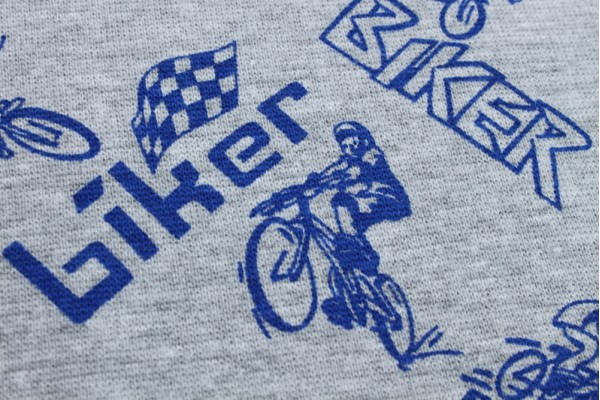 Jersey, Cotton / Lycra  - Grey with Blue Bikers