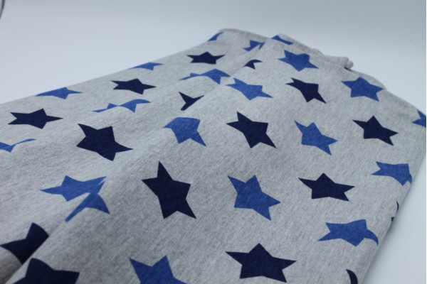 Jersey, Cotton - Grey with Dark and Mid Blue Stars