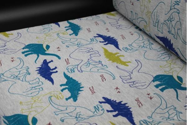 Single Jersey - Dark Blue Dinosaurs Fabric