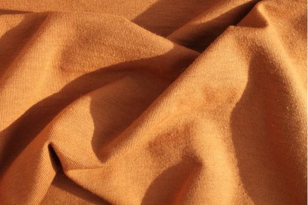 Finerib Combed Cotton and Lycra Jersey, Dark Tan, Self-coloured