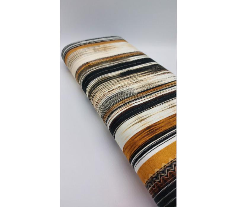 Jersey Tricot Digital Printed - Black, Brown, Orange striped