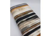 Jersey Tricot Digital Printed - Black, Brown, Orange striped